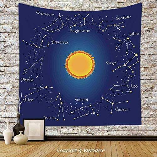FashSam Tapestry Wall Hanging Celestial Star Chart Constellation Around Sun on The Sky Aries Decorative Tapestries Dorm Living Room Bedroom(W59xL78) ()
