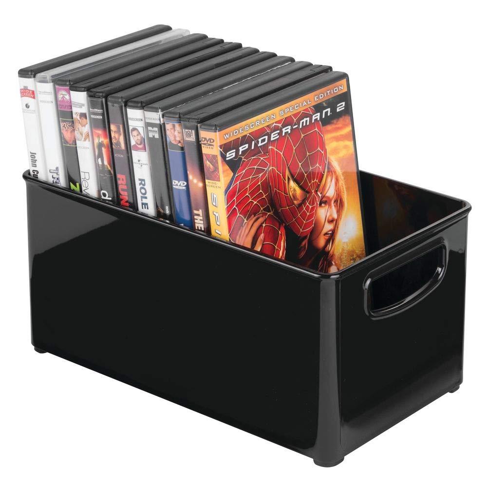 mDesign Juego de 2 cajas organizadoras para DVD, CD y videojuegos – Práctica caja para DVD mediana con asa, de fácil transporte – Caja de plástico ...