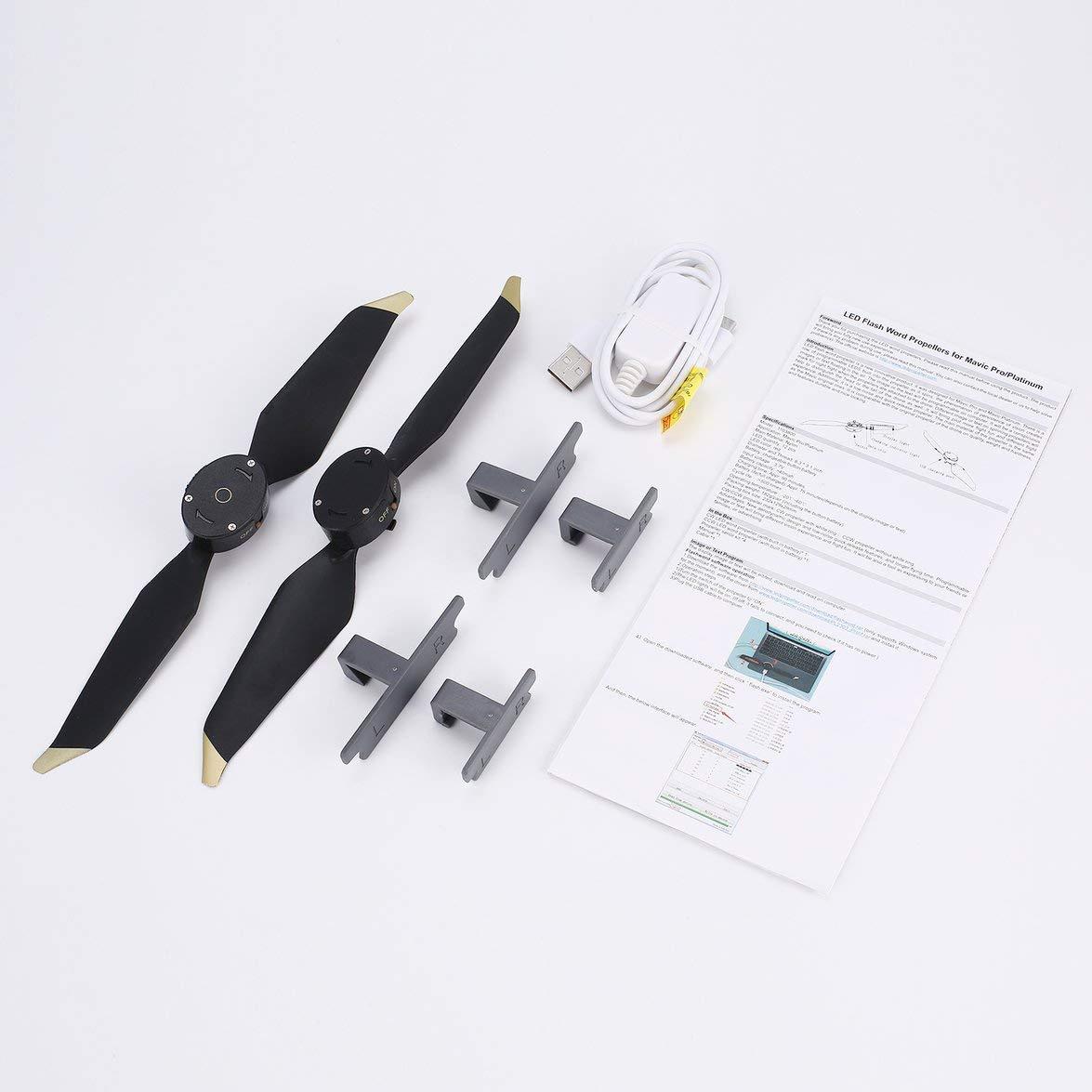 Kongqiabona 8331 Niedrig-Noise Blades Propeller Schnellspanner LED-Blitz Wort Programmierbare CW CCW Requisiten für DJI Mavic Pro/Platinum RC Drone