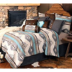 Rustic Western Southwestern Equestrian Decoration Comforter set with wildlife and native american prints - 5PC BAD LANDS QUEEN