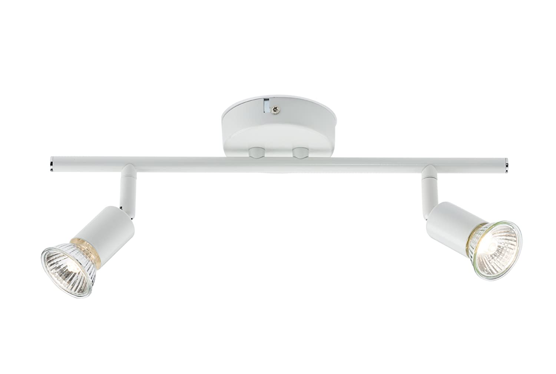 Knightsbridge 230V Gu10 50W Twin Bar Spotlight-White, Aluminium MLA SPGU2W