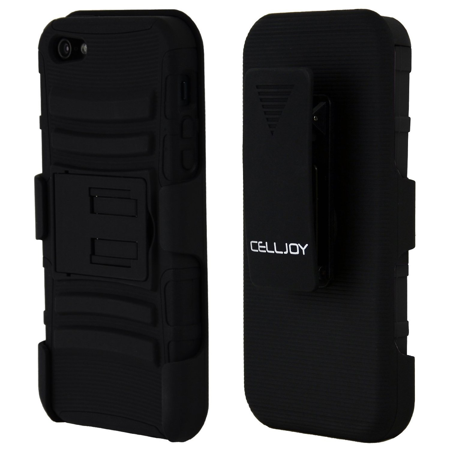 CellJoy Tough Rugged Layered Extreme Hybrid Belt Clip Holster Case for iPhone 5 (Stealth Black)