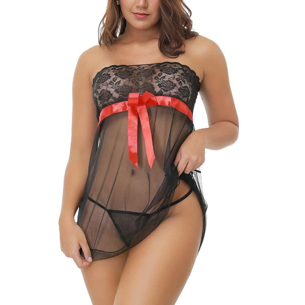 NewlyBlouW Womens Lingerie, Ladies Lace Sleepwear Sexy G-String Wire Free Underwear Cute Babydoll Nightwear Black