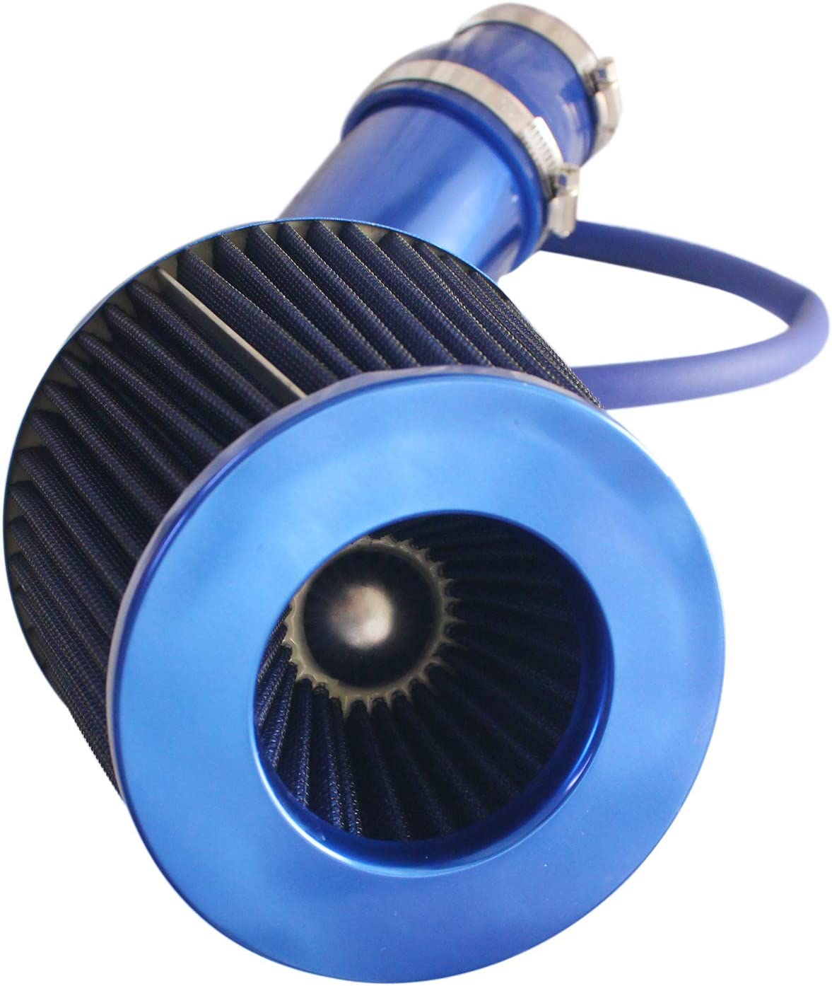 RONTEIX Universal High Flow 3 Inch Cold Air Intake Induction Pipe Hose Kit with Air Filter Blue