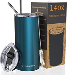 Umite Chef Tumbler with Lid, Stainless Steel Insulated Coffee Travel Mug, 14 oz Skinny Tumbler Lowball, Double Wall Coffee Tumbler Cup with Splash Proof Sliding Lid for Tea, Beverage(Blue Green)