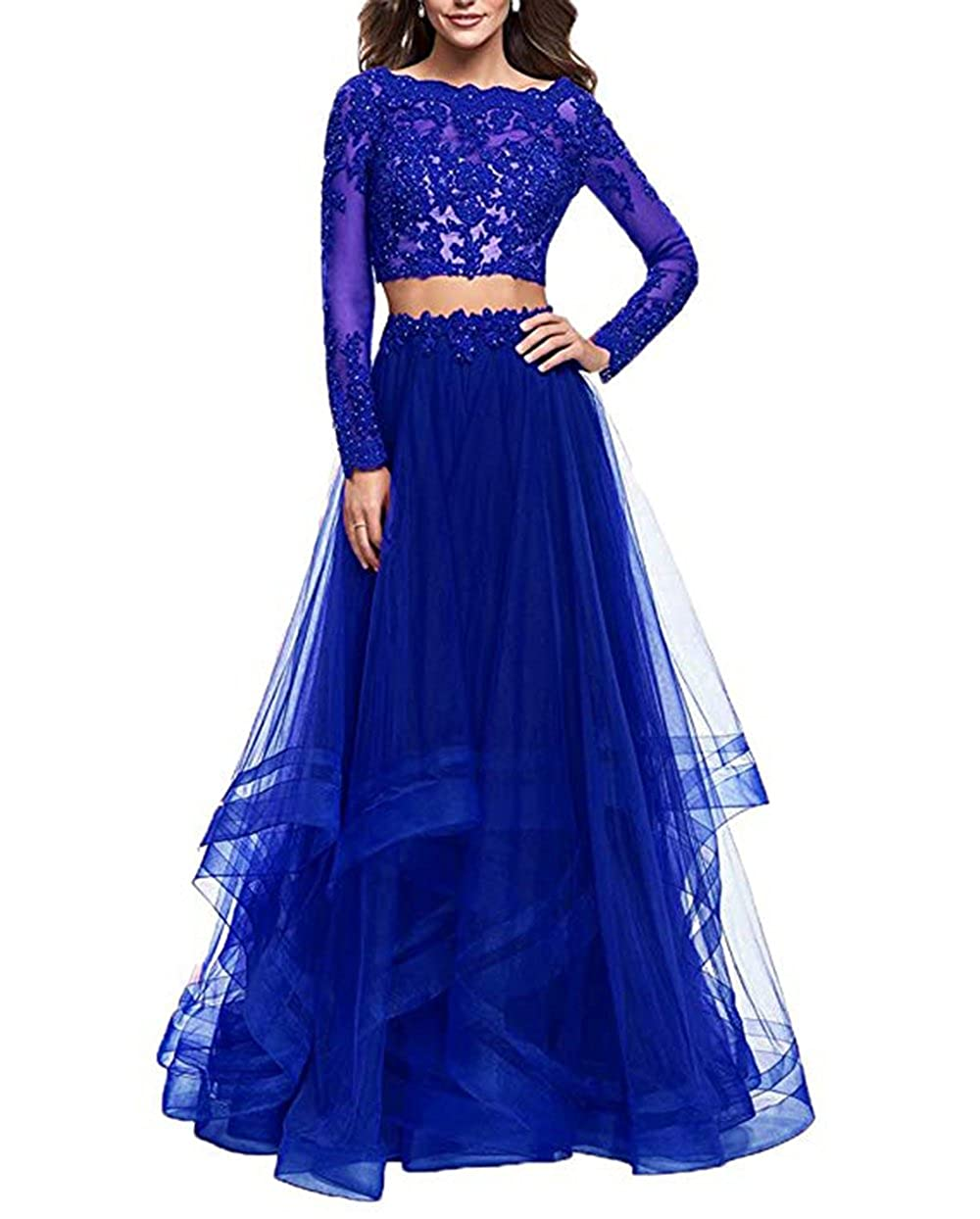 Royal bluee alilith.Z Sexy Illusion Appliques Tulle 2 Piece Prom Dresses Long Formal Evening Party Gowns for Women with Sleeves