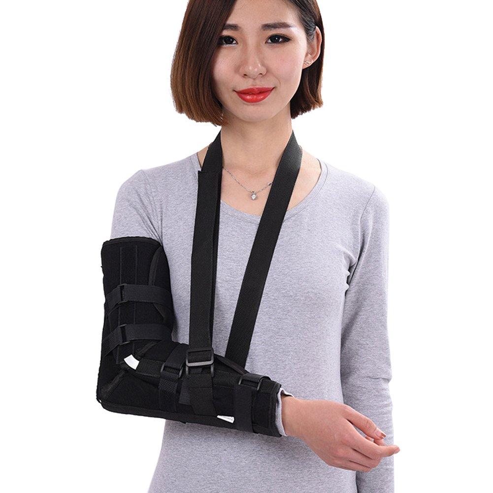 Wgwioo Elbow Sling Arm Support Brace Correction Splint Immobilize Stabilize The Fracture Injured Wrist,Black,L