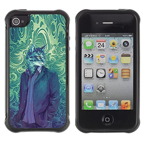 iPhone 4 / iPhone 4S , Cat Suit Portrait Vintage Wallpaper Art