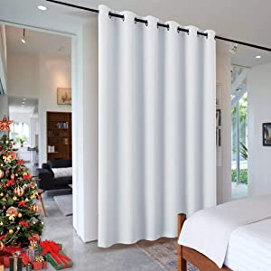 RYB HOME Room Divider for Bedroom, Thermal Insulated Premium Super Soft Ceiling Blackout Partition Sliding Curtain for Hospital / Clinic / Bookshelf, 9 ft High x 10 ft Wide, Greyish White, 1 Pack