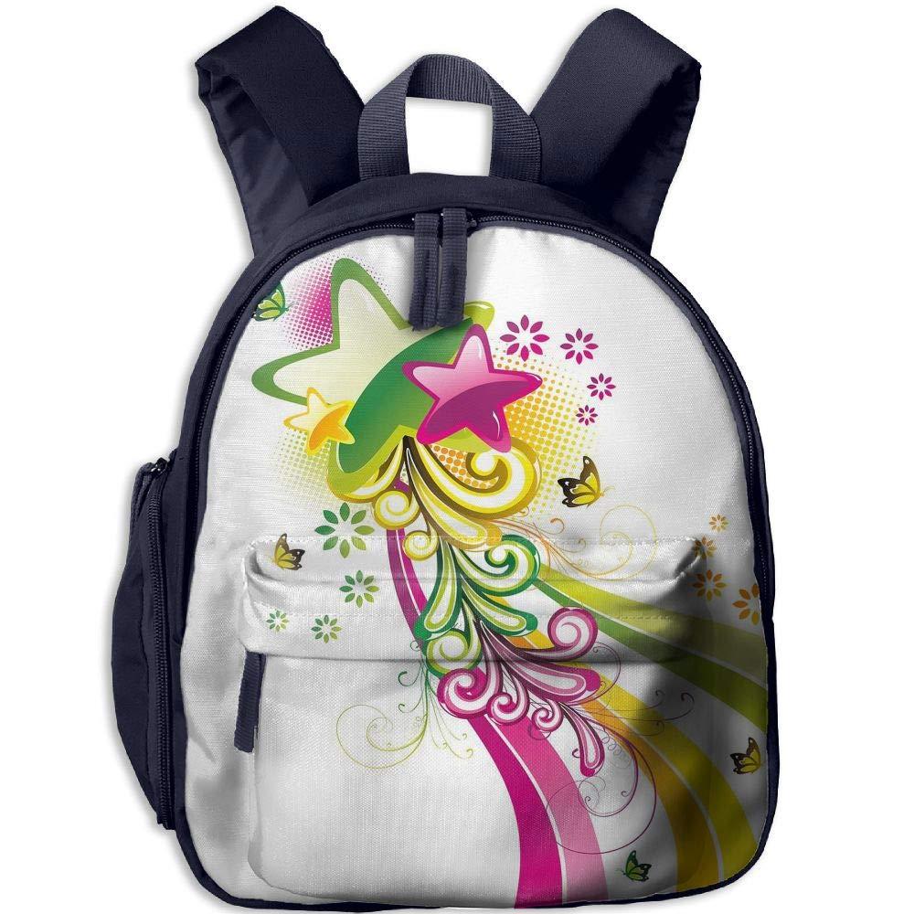 Haixia 子供用 男の子&女の子用 ポケット付きブックバッグ 抽象的 鮮やかな色 流れ星 蝶と渦巻き 花柄 スペース装飾 ホットピンク イエロー グリーン One Size ネイビー B07H1CHV4S