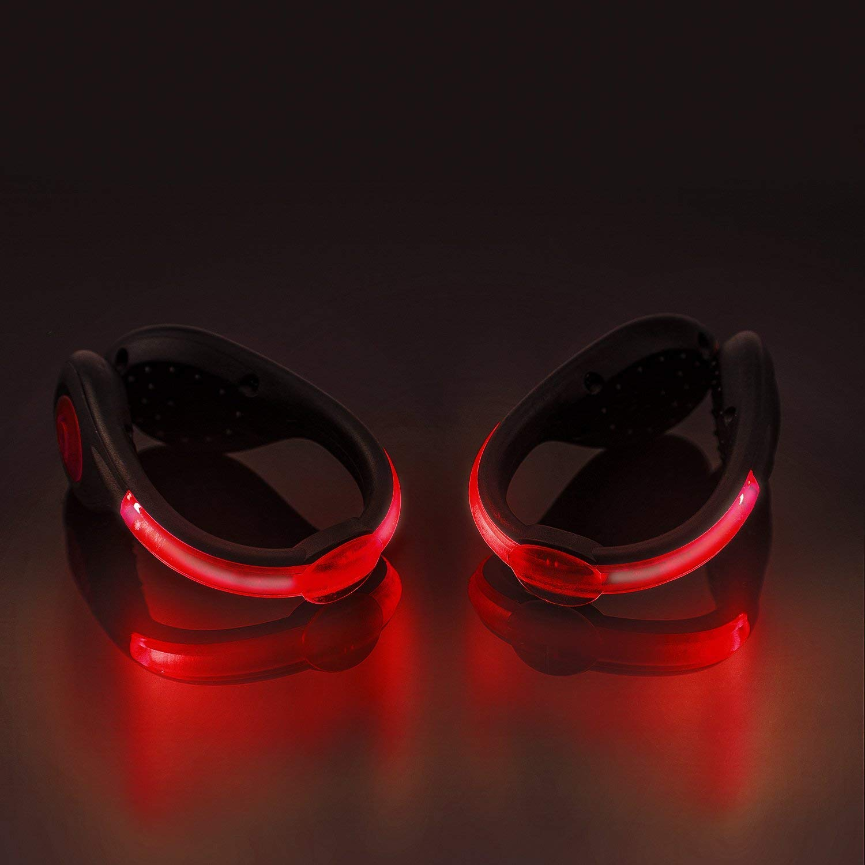 LEDシュークリップライト 反射 安全 夜間ランニングギア ランニング ジョギング ウォーキング サイクリング キャンプ用フラッシュライト (1パック) - レッド B07PJQYH7P