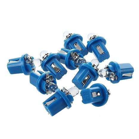 TOOGOO(R) 10 T5 Bombilla LED con Luz Azul para Salpicadero coche DC 12V