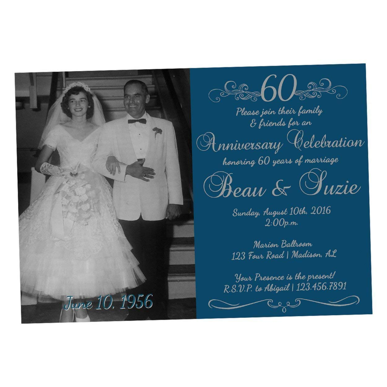 Amazon Com Diamond 60th Wedding Anniversary Invitations Photo