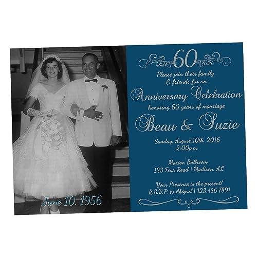 Amazon Com Diamond 60th Wedding Anniversary Invitations Photo Handmade