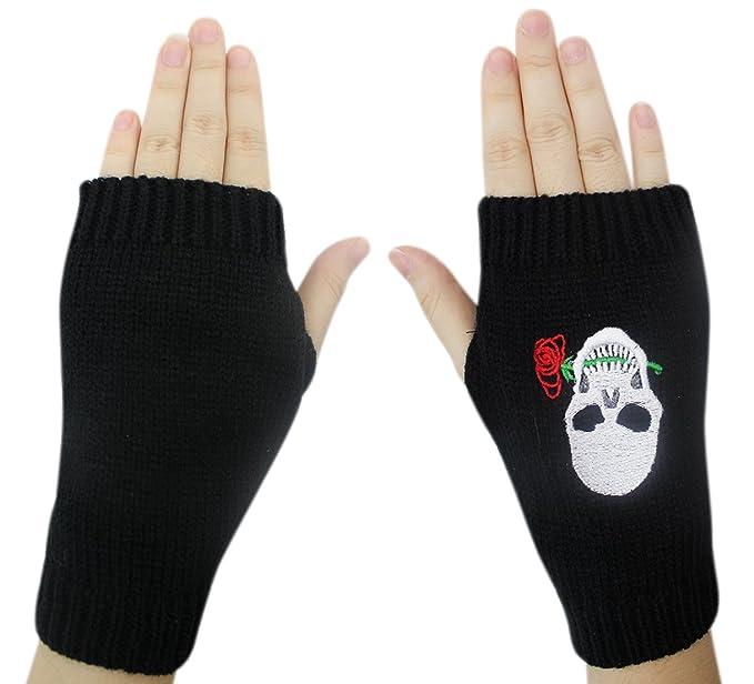 Amazon.com: Aibearty Women Skull Rose Print Knit Winter Fingerless ...