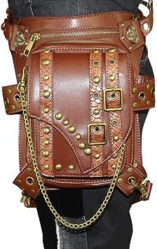 Multi-function Motorcycle Rider PU Leather Steampunk Retro Waist Pack Leg Bag