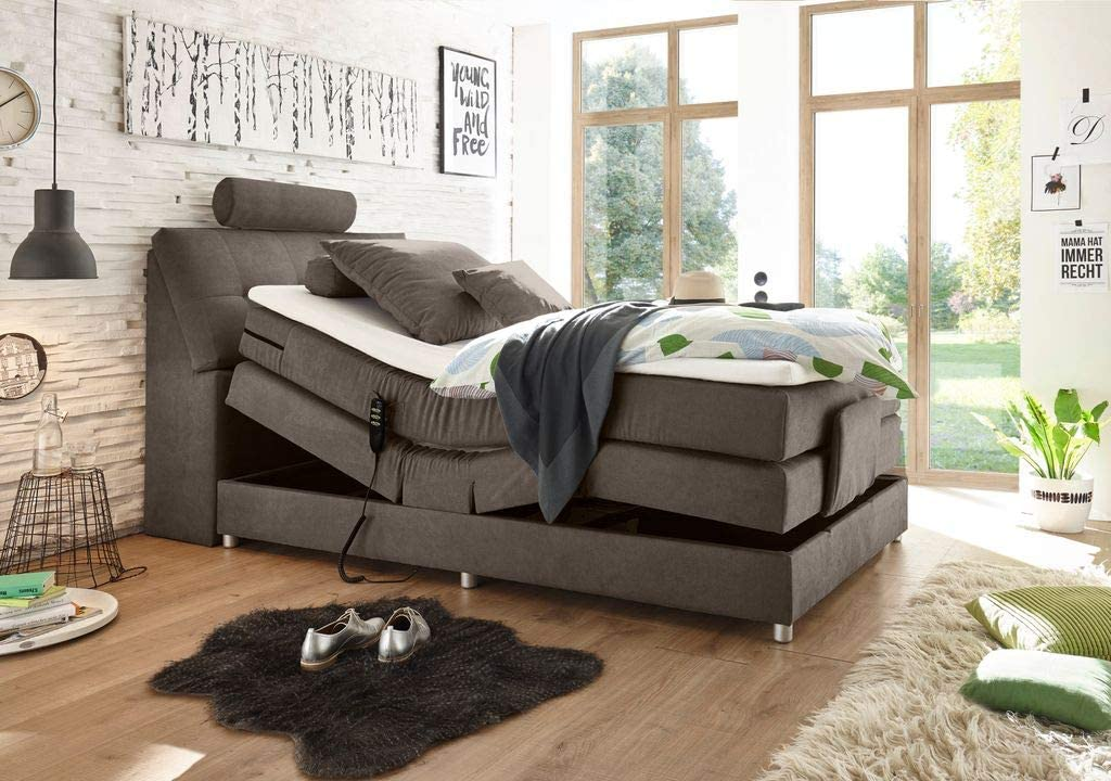 Froschk/önig24 Palermo 120x200 cm Boxspringbett Bett mit Motor Stone