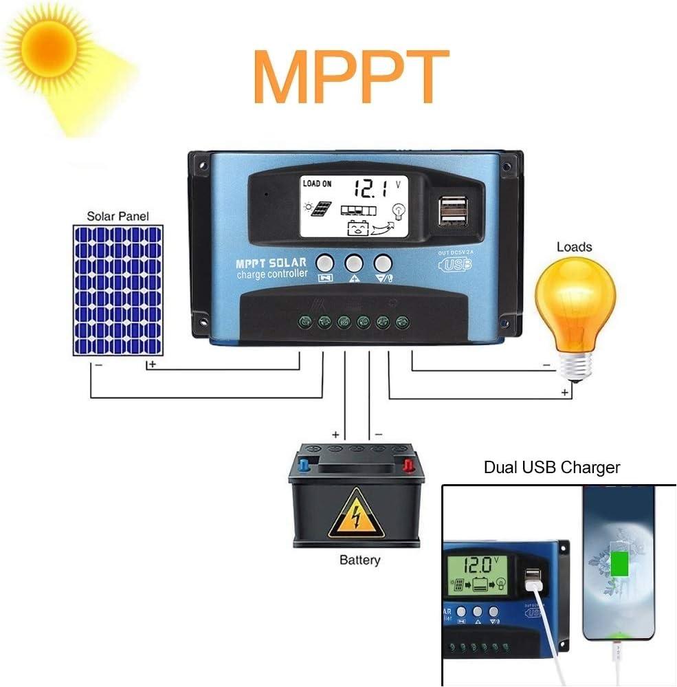 Broco MPPT 60A Contr/ôleur de Charge Solaire Double /écran LCD USB 12V 24V 60A