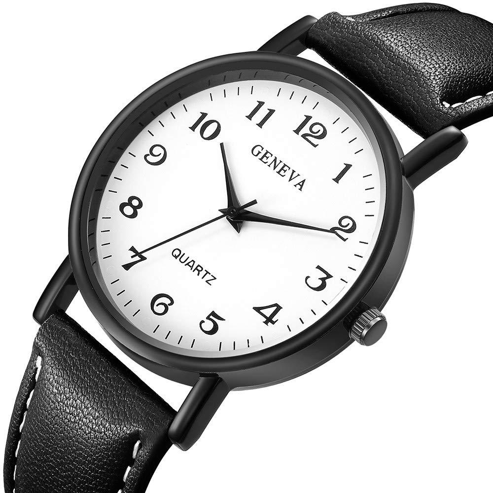 Zaidern Men Watches,Men's Women Watch Luxury Sport Stainless Steel Case Casual Analog Quartz Wristwatches Retro Simple Design Business Dress Waterproof Leather Band Round Large Dial Wrist Watches