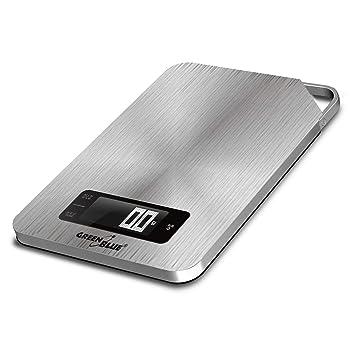 Green Blue GB170 Digital de Cocina - Báscula electrónica de acero inoxidable con temporizador digital hasta 5 kg min 1 G Función de tara, Silver: Amazon.es: ...
