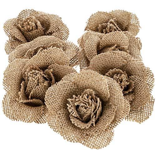 12-Pack Handmade Jute Burlap Rose Flowers for DIY Crafts, 3 ()