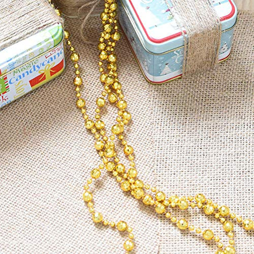 oocc Round Crystal Plastic Pearls Beads String Garland for Christmas, Valentine,New Year, Birthday, Exhibition,Wedding, Baby Shower,Holiday Party DIY Craft Home Decoration, 16 ft (Golden) (Tree Handmade Golden)