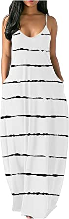 FRSH MNT OTTATAT Dresses for Women Casual Summer Spaghetti Strap Sexy V-Neck Loose Plus Size Long Maxi Dress with Pocket