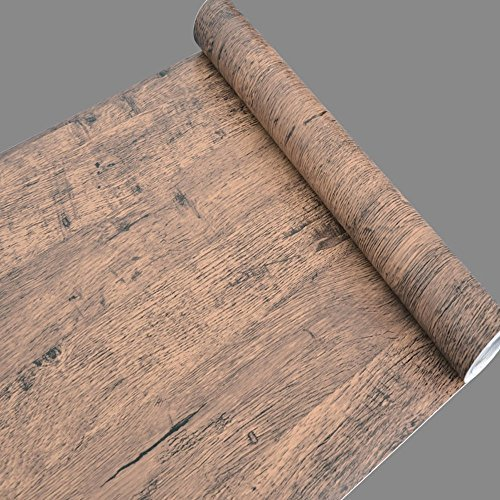 SimpleLife4U Brown Wood Grain Contact Paper Self Adhesive Shelf Liner Table Door Sticker 17.7 Inch by 9.8 Feet COMIN18JU021089