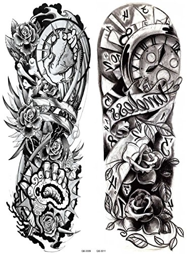 Nutrition Bizz Extra Large Temporary Tattoos Full Half Arm Tattoo Sleeves 20 Sheets for Men Women Teen Fake Tattoo Biker Tattoo Waterproof Stickers for Arms Shoulders Chest & Back by NutritionBizz (Image #4)
