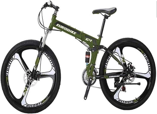 Gyj&mmm Bicicleta Plegable, Bicicleta de montaña G4 de 21 velocidades, Cuadro de Acero de 26 Pulgadas con Rueda de 3 radios, Bicicleta Plegable de Doble suspensión,Verde: Amazon.es: Hogar