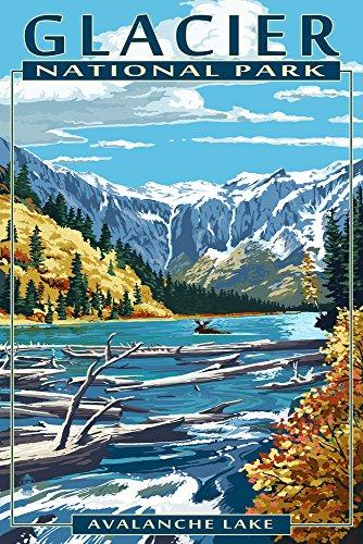 Montana Vintage Travel Poster - Glacier National Park, Montana - Avalanche Lake (9x12 Art Print, Wall Decor Travel Poster)