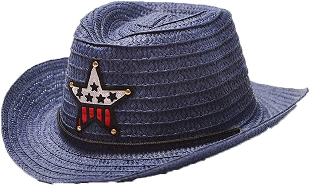 Beach Straw Cowboy Hat Summer Outdoor Cute Outback Wide Brim Sun Hat for Boys Girls