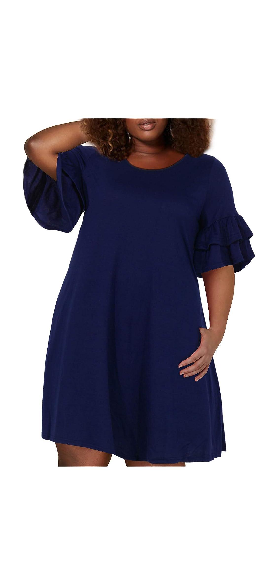 Women's Ruffle Sleeve Jersey Knit Plus Size Casual Swing