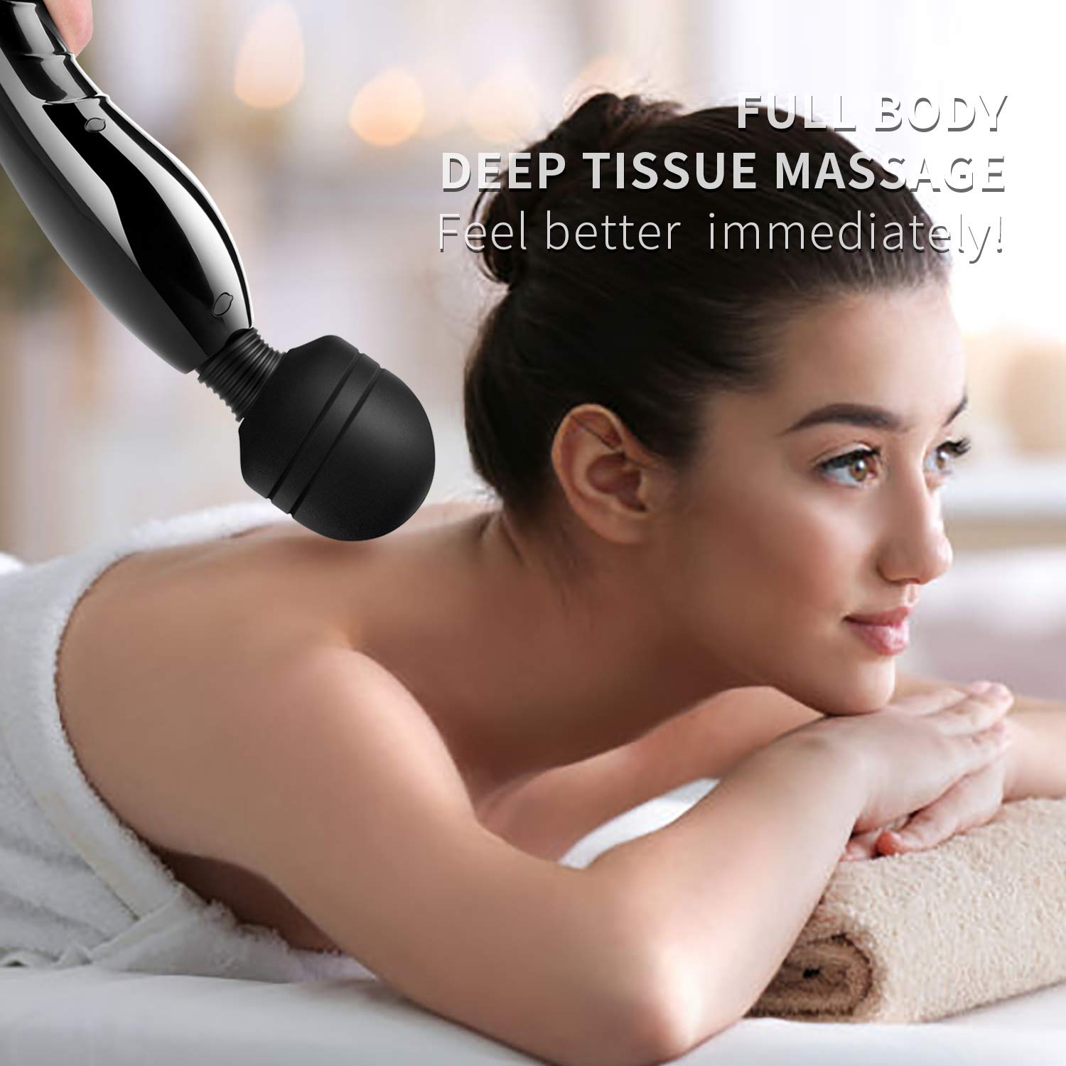 Cordless Wand Massager,Rechargeable Electric Massage Stick for Deep Muscles Pain Relief (Muscle Aches & Personal Sports Recovery)
