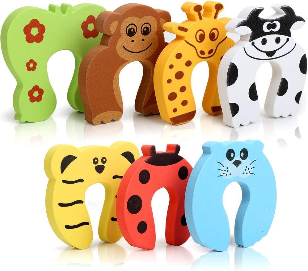 HNYYZL - Protectores de dedos para puerta, 7 unidades, con diseño de animales, de espuma suave, para evitar lesiones de dedos, puerta de golpeo y niños o mascotas