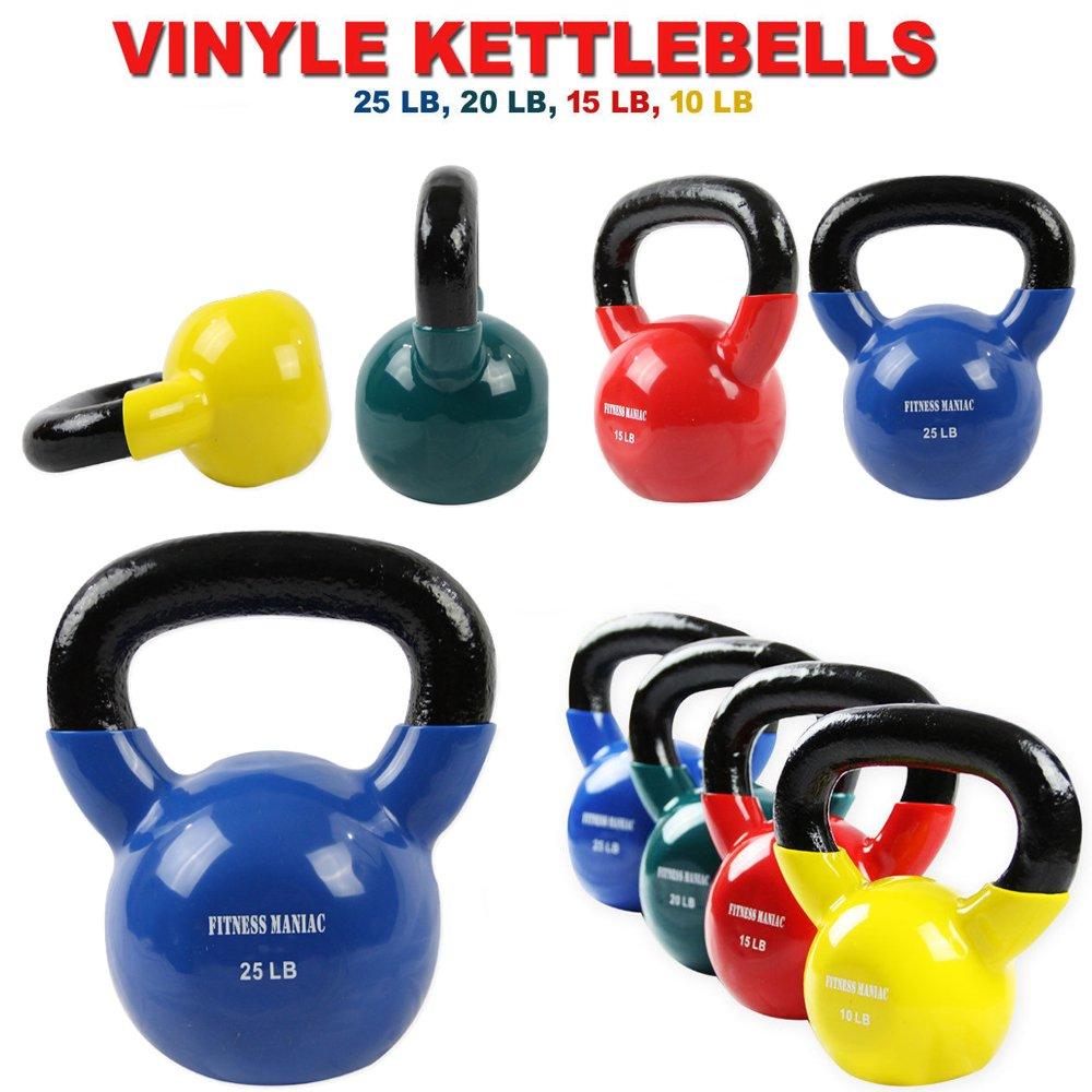 bb1df3b5d513f Amazon.com : FITNESS MANIAC Kettlebells Professional Grade Vinyl Coated -  Solid Cast Iron Dipped Kettlebell Weights - 5, 10, 15, 20, 25, 30, 35, 40,  45, ...