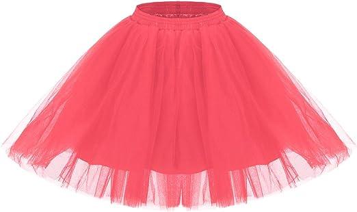 Tewess - Falda de tul corta para mujer, tutú, vestido de ballet, baile ...