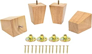 4 Inch Sofa Legs Wood Furniture Legs Pack of 4 Pyramid Replacement Feet for Recliner Chair Couch Ottoman Loveseat with Pre-Drilled 5/16 Inch Bolt & Mounting Legs Plates