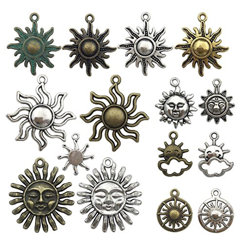 (100g Sun Charms Collection - Antique Gold Silver Bronze Colors Mixed Metal Sun Smile Sun Metal Pendants for Jewelry Making DIY Findings (HM6))