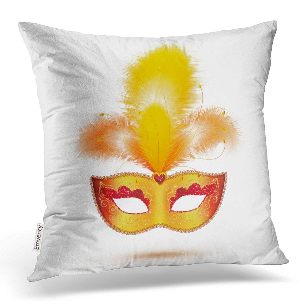 Emvency Square 18×18 Inches Decorative Pillowcases Golden Vector Carnival Mask with Yellow and Orange Feathers Cotton Polyester Decor Throw Pillow Cover with Hidden Zipper for Bedroom Sofa