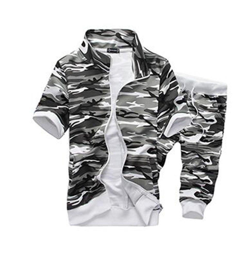 Bumud Men's Camouflage Jogger Harem Capri Cropped Pants Short Sleeve Tracksuit (US Size L/Label Size 2XL, Light Grey)