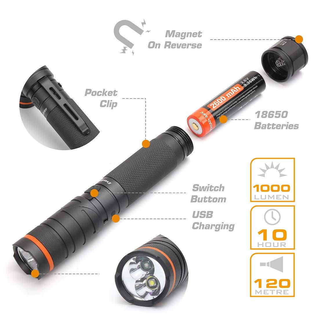 EverBrite LED Taschenlampe Wasserdicht IP65 UV Licht 90 ° drehbares Kopf und USB-Ladefunktion mit Magnet und Taschenclip LTD