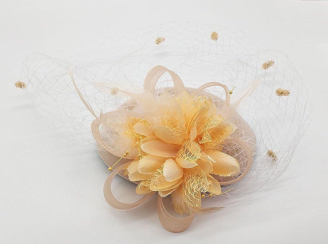Fascinateur Chapeaux Pillbox Chapeau britannique Bowler Chapeau Fleur Voiler Mariage Chapeau th/é F/ête Chapeau
