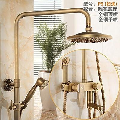 GFEI Baño, cobre, titanio, patrones antiguos, pintura, grifo de la ducha, con ducha rociador Set,P5 (cinturon lavadora): Amazon.es: Hogar