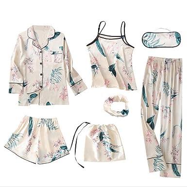 Spring Summer Pyjamas Women Home Wear Pijama Charming Faux Silk Floral 7 Pieces Pajama Set Woman