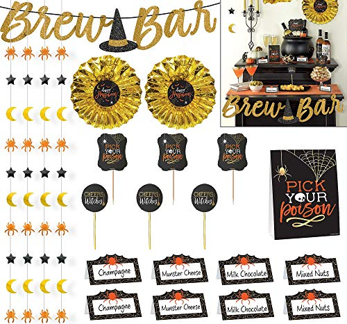 Amscan Wicked Halloween Buffet Decorating Kit, 23 Pieces, Includes Tent Cards, Picks, Decorations, a Banner, and More