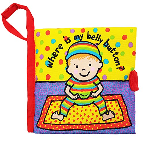 Zocita My First Soft Cloth Book, Baby Crinkle Activity Fabric Books for Toddlers and Kids (Where is My Belly Button)