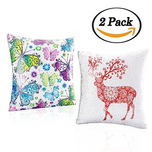 2pcs Premium Sequins Throw Pillow Case Reversible Butterfly Deer Mermaid Pillow Cover Square Cushion Covers for Home Room Bedding Sofa Couch Decorations Valentine's Day Gifts, 16x16 Inch (Fiddle Pattern Silver)