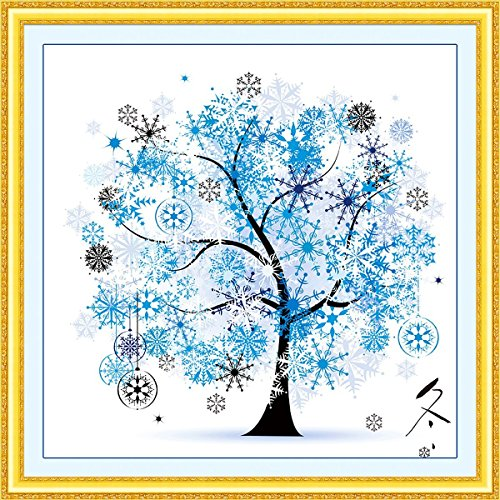 Cross Printed (DIY Cross Stitch Kit Embroidery Kits Handmade Precise Printed Cross-Stitching Set Colorful Tree Home Decoration Winter Season)