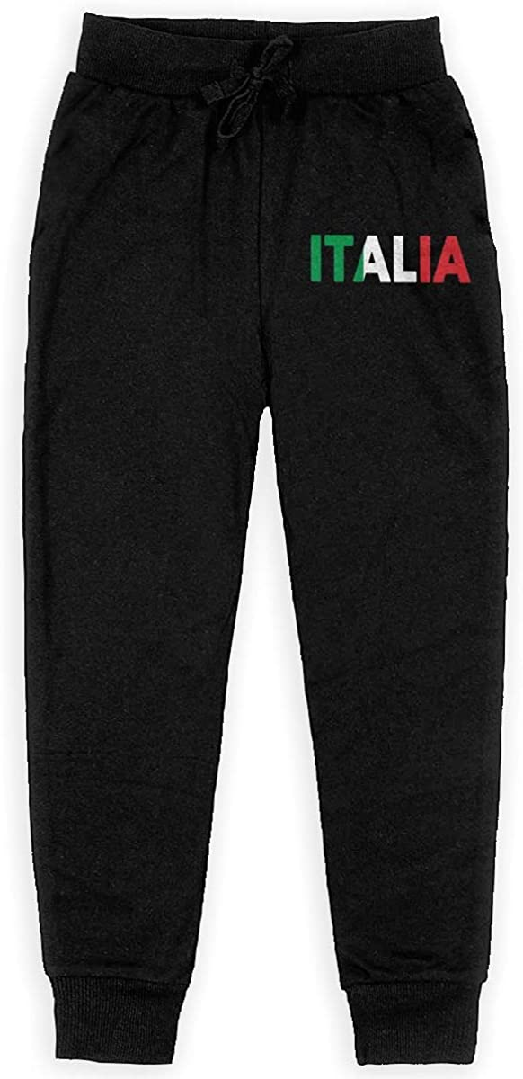 Qinf Boys Sweatpants Italia Italy Italian Flag Joggers Sport Training Pants Trousers Cotton Sweatpants for Youth